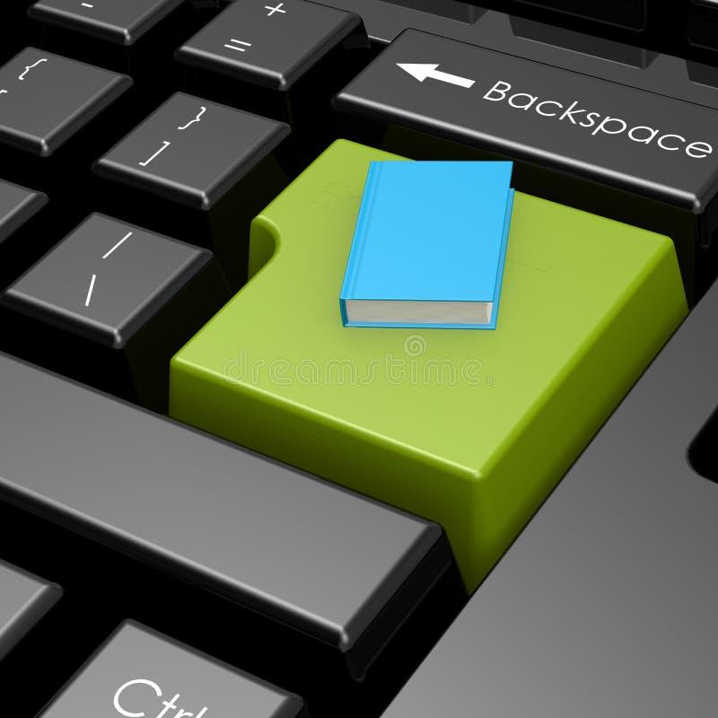 Blå bok på den gröna knappen av datortangentbordet royaltyfri illustrationer