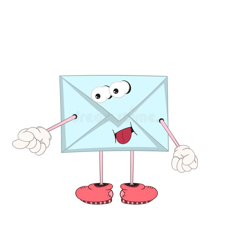 Blå bokstav för rolig tecknad film med ögon, armar och ben i skor som retar och visar tungan stock illustrationer
