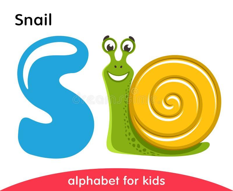 Blå bokstav S och gladlynt snigel royaltyfri illustrationer