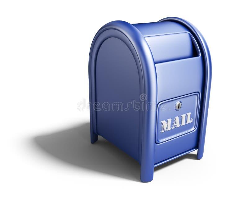 Blå brevlåda. symbol 3D  vektor illustrationer