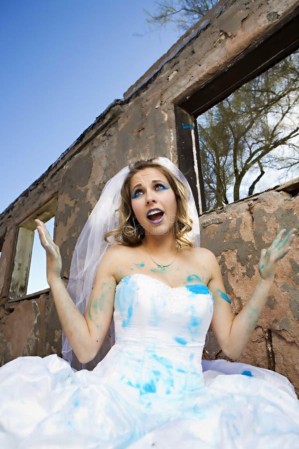 blå brudmålarfärg arkivbilder