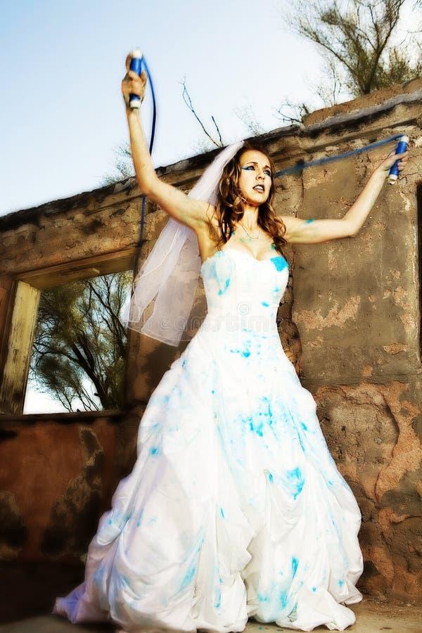 blå brudmålarfärg royaltyfri fotografi