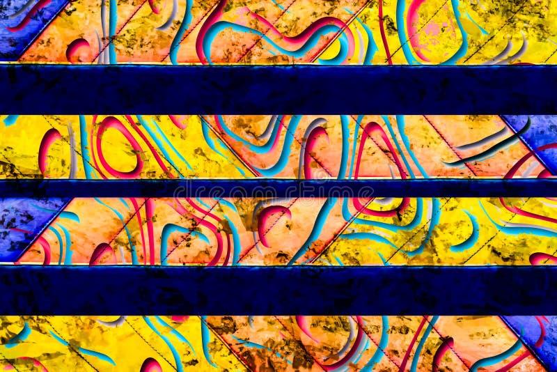 Blå, brun, gul och rosa abstrakt bakgrund för Grunge arkivbild