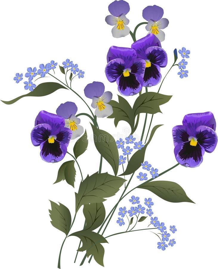 blå bukettblommawhite royaltyfri illustrationer