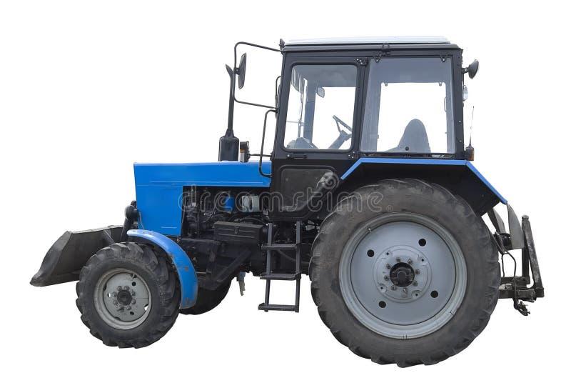 blå bulldozer isolerad sida arkivbild