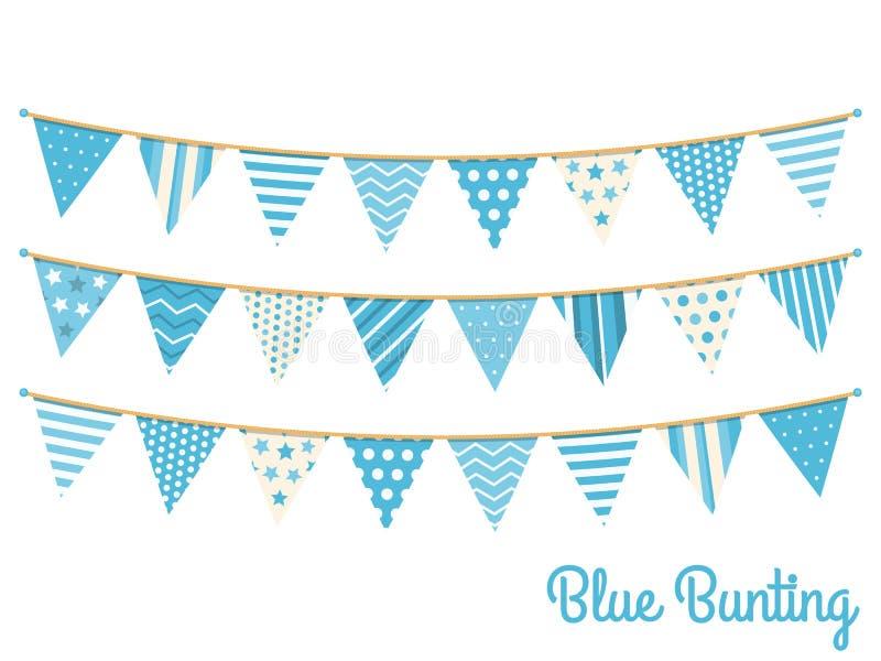 Blå Bunting stock illustrationer
