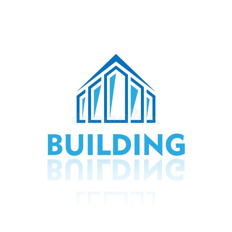 Blå byggande logo På transparant bakgrund vektor stock illustrationer