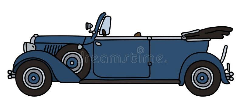 Blå cabriolet för tappning royaltyfri illustrationer