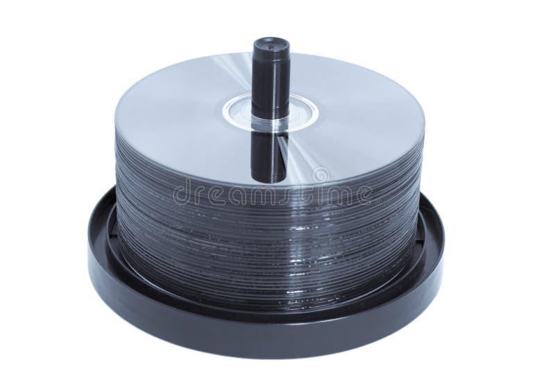 blå cd tonad dvdspindle royaltyfria foton