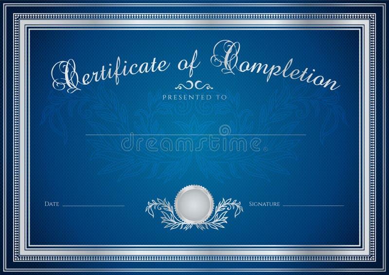 Blå certifikat-/diplombakgrund (mallen) stock illustrationer
