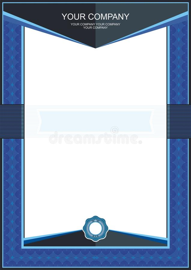 Blå certifikat- eller diplommallram - gräns vektor illustrationer