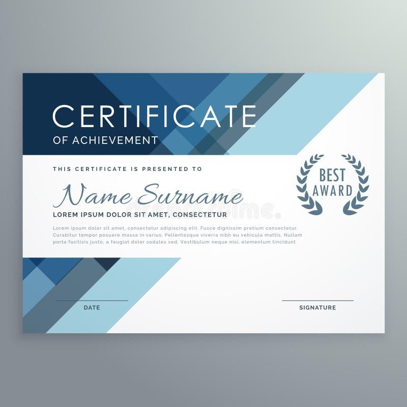 Blå certifikatdesign i yrkesmässig stil royaltyfri illustrationer