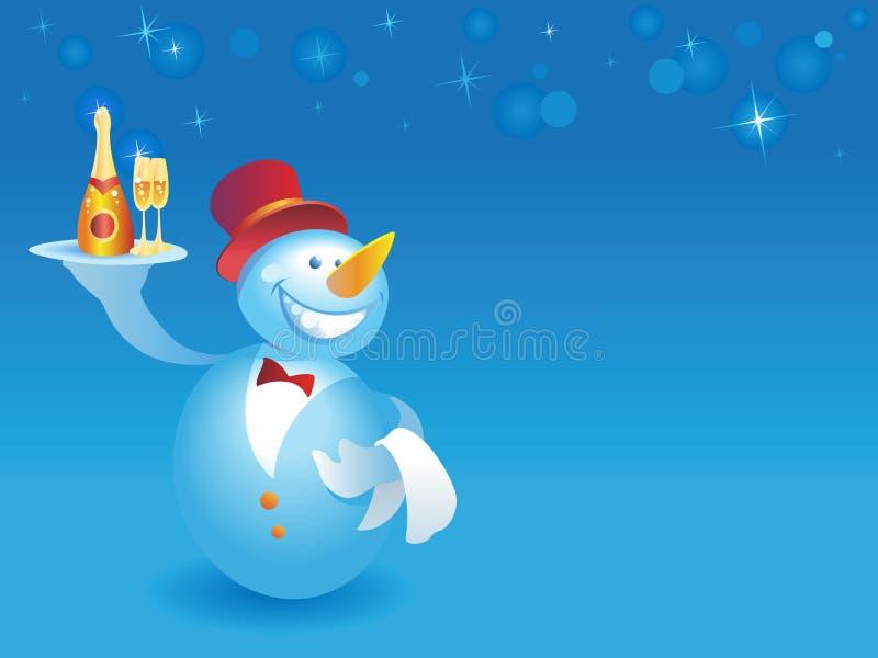 blå champagnesnowmanuppassare stock illustrationer