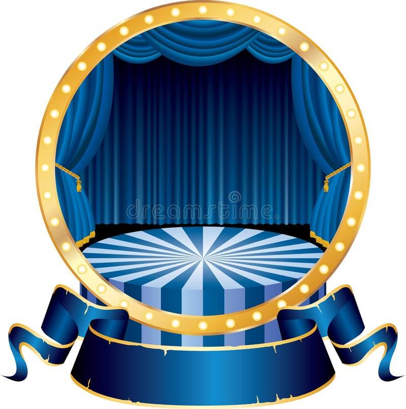 blå cirkelcirkus royaltyfri illustrationer