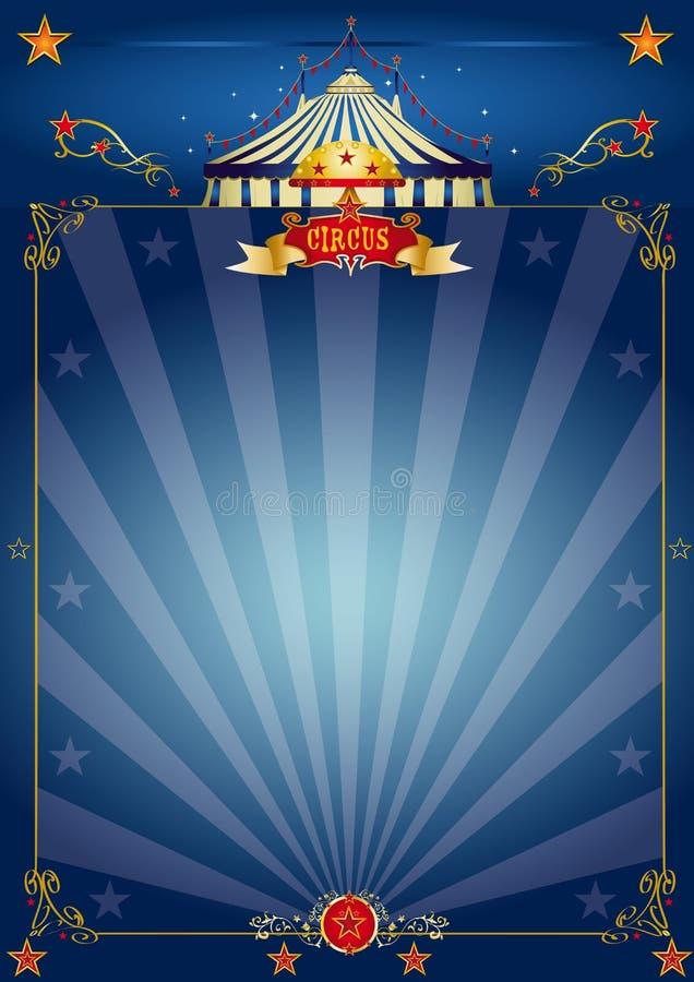 blå cirkusmagiaffisch stock illustrationer