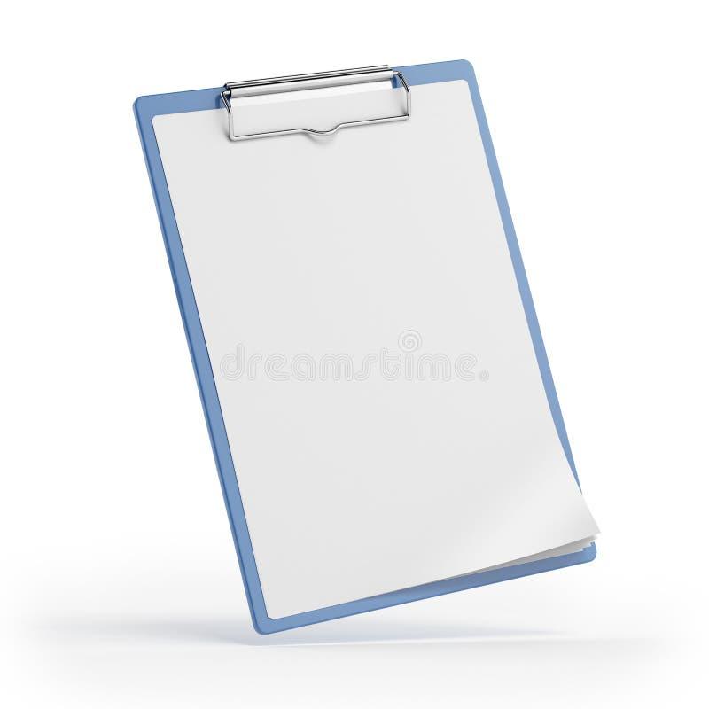 Blå clipboard med det paper arket royaltyfri bild