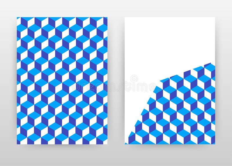 Blå 3D-isometrisk kub, sömlös texturdesign för årsrapporter, broschyr, flygblad, affisch. Blåkuber, bakgrundsvektor vektor illustrationer