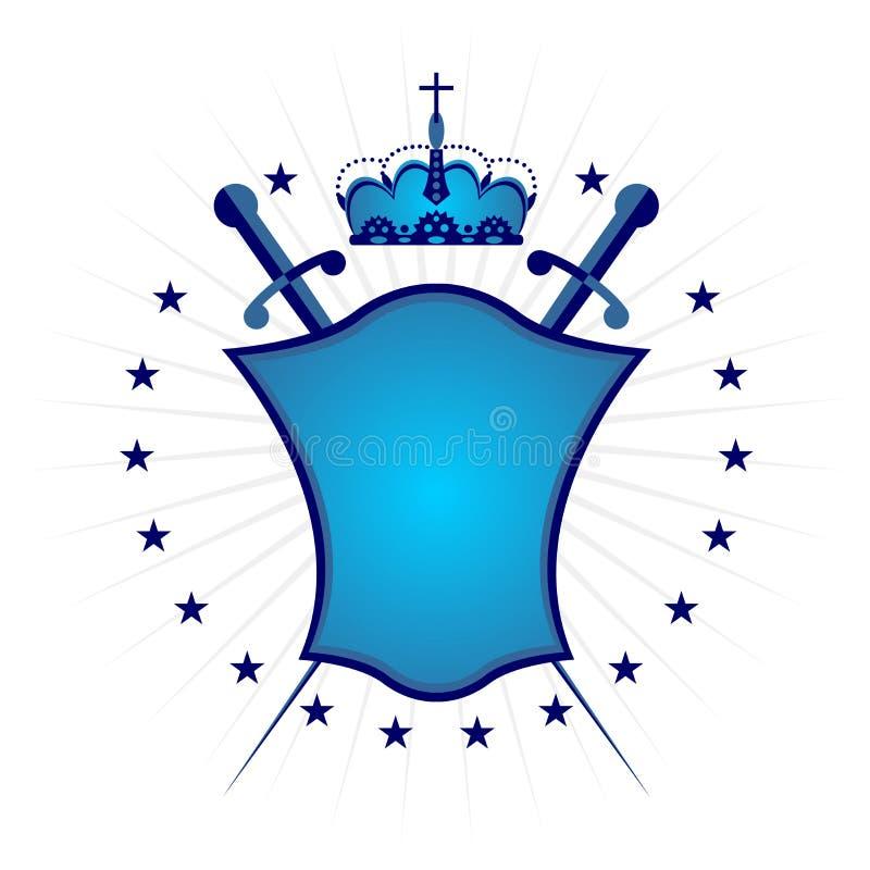 blå dekorativ sköldversion stock illustrationer