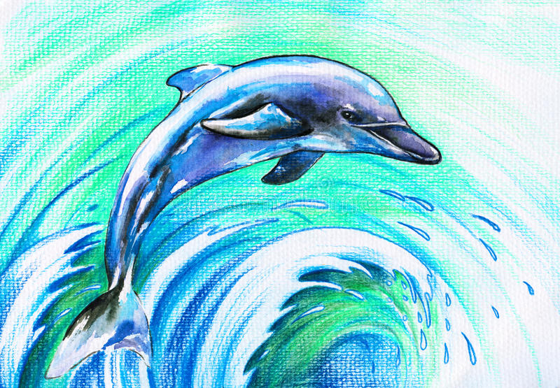 blå delfin stock illustrationer