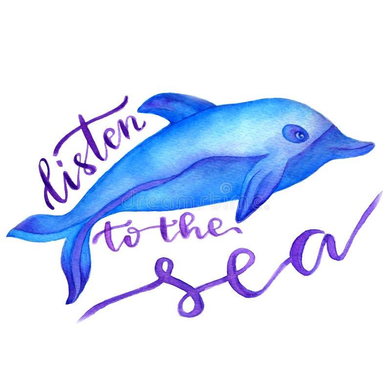 Blå delfin i vattenfärg målad illustration Med bokstäver - lyssna till havet stock illustrationer