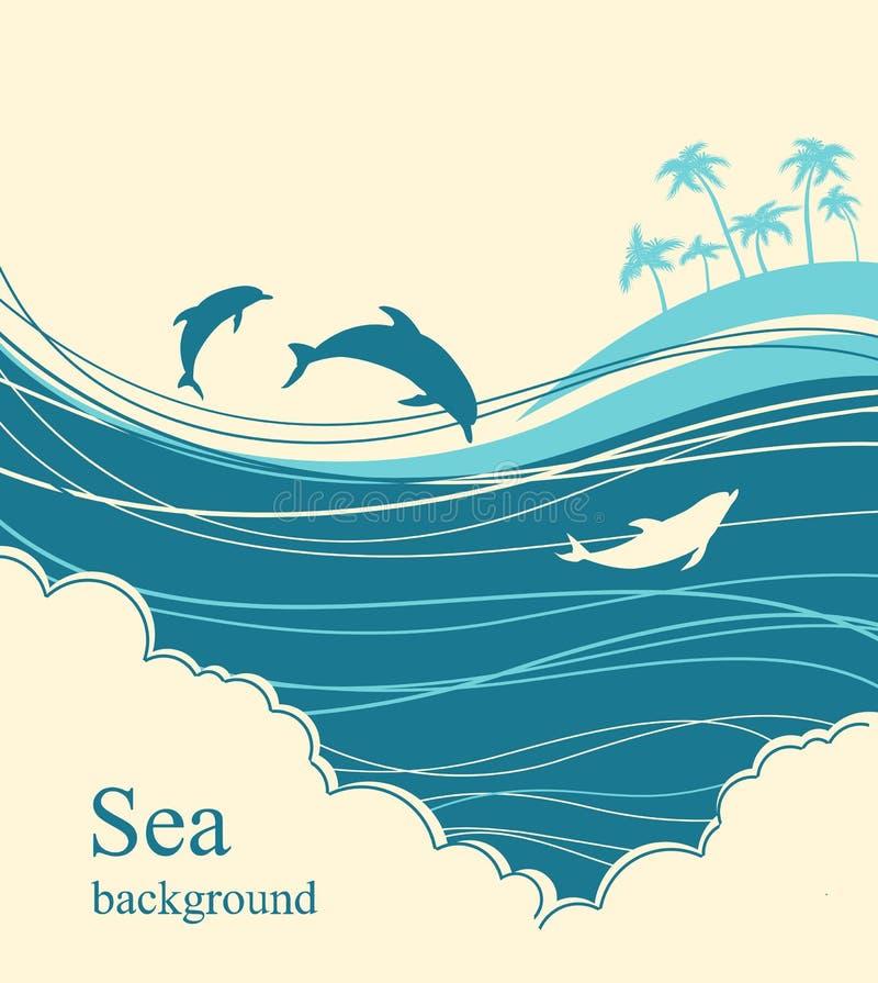 blå delfinhavswave Seascapeillustrationhorisont royaltyfri illustrationer
