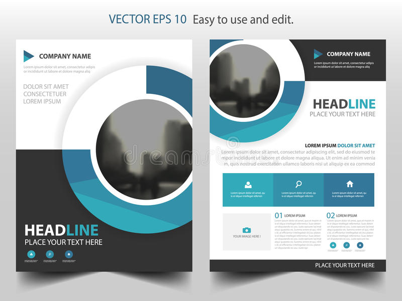 Blå design för mall för årsrapport för reklamblad för broschyr för cirkelaffärsbroschyr, bokomslagorienteringsdesign, royaltyfri illustrationer