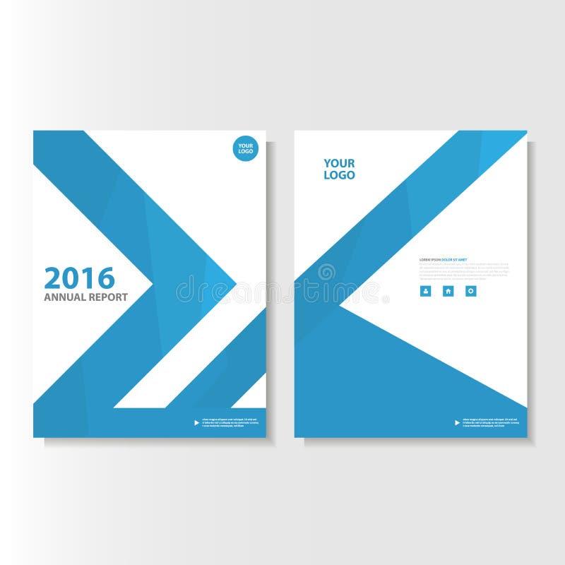 Blå design för mall för reklamblad för broschyr för broschyr för vektorårsrapporttidskrift, bokomslagorienteringsdesign vektor illustrationer