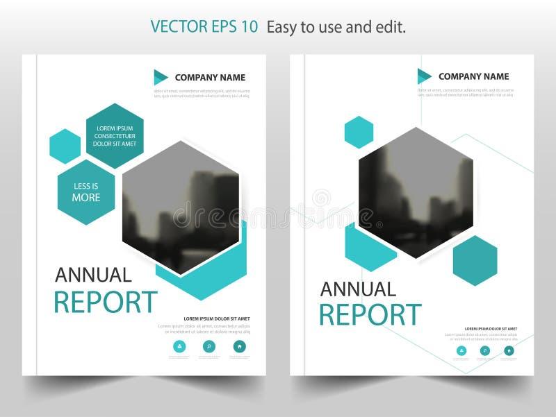Blå design för mall för reklamblad för broschyr för sexhörningsbroschyrårsrapport, bokomslagorienteringsdesign, abstrakt affärspr stock illustrationer