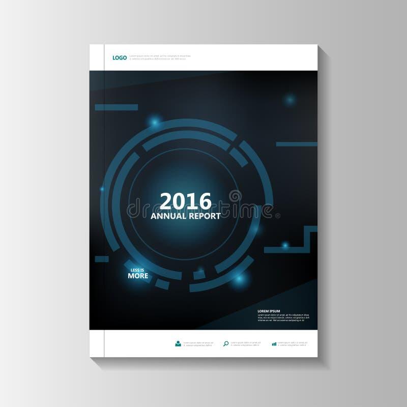 Blå design för mall för reklamblad för broschyr för teknologiårsrapportbroschyr, bokomslagorienteringsdesign, abstrakt purpurfärg royaltyfri illustrationer
