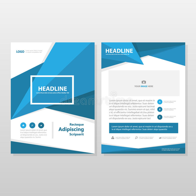 Blå design för mall för reklamblad för broschyr för vektorårsrapportbroschyr stock illustrationer