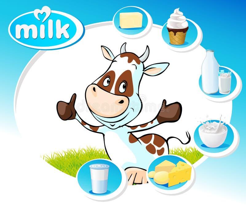 Blå design med mejeriprodukter och den roliga kon - vektor vektor illustrationer