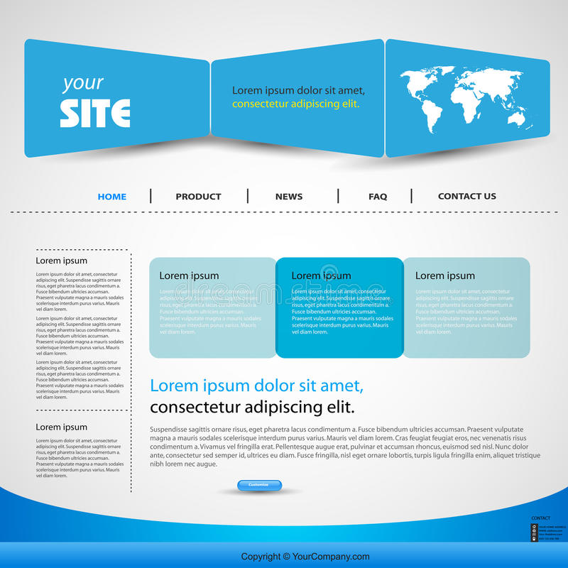 blå designmallrengöringsduk royaltyfri illustrationer