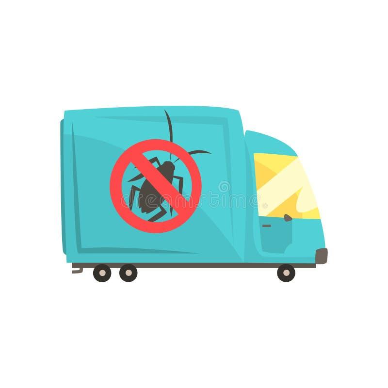 Blå desinfektörlastbil, illustration för vektor för tecknad film för plågakontrollservice royaltyfri illustrationer
