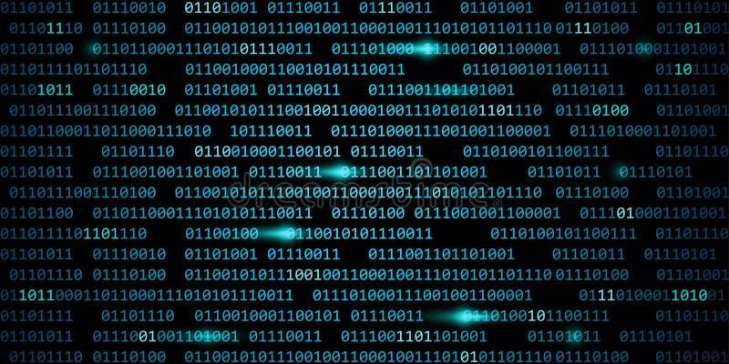 Blå digital för rengöringsdukcyber för binär kod bakgrund för teknologi royaltyfri illustrationer