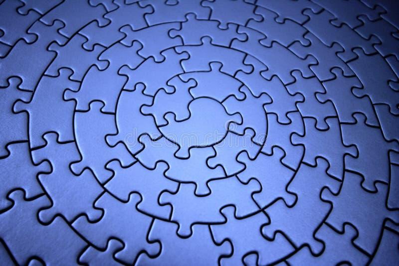 blå dimensionell jigsaw tre arkivbilder