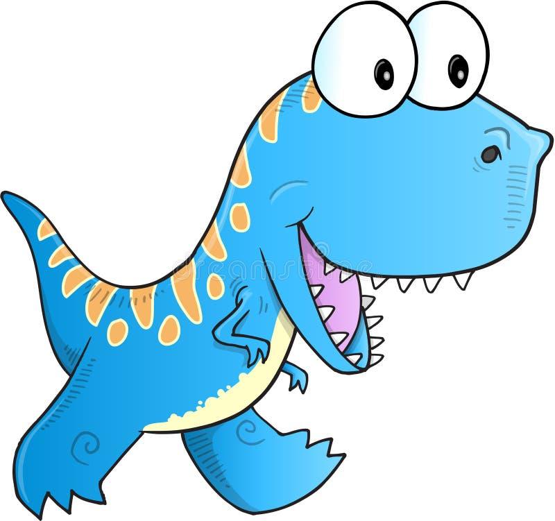 Blå dinosaurievektor stock illustrationer
