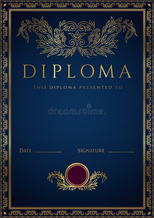 Blå diplom-/certifikatbakgrund med gränsen stock illustrationer