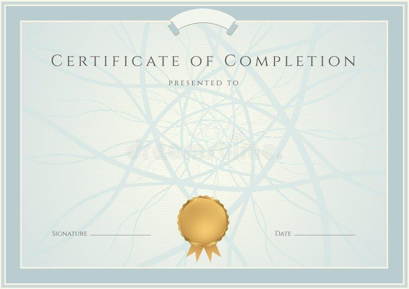 Blå diplom/certifikatbakgrund och gräns stock illustrationer