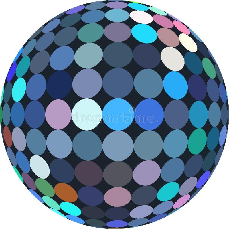 Blå diskoboll 3d för Glitz abstrakt diagram royaltyfri illustrationer