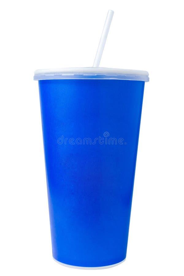 Blå disponibel pappers- kopp på vit fotografering för bildbyråer
