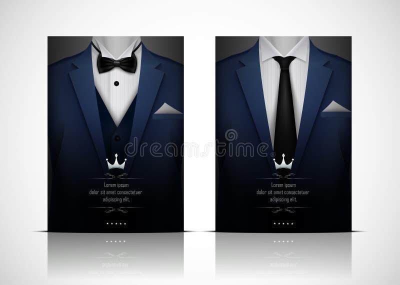 Blå dräkt och smoking med flugan stock illustrationer
