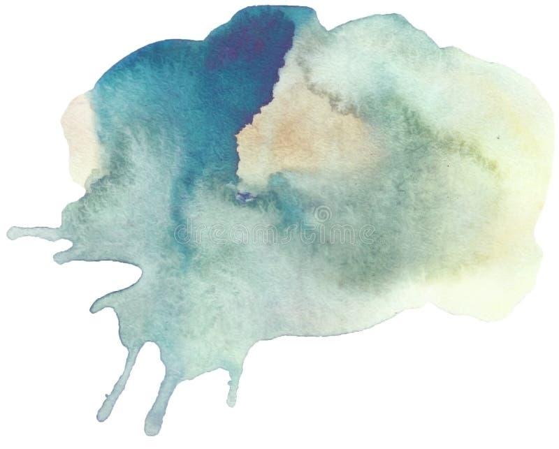 Blå dragen linje gjord randig isolerad fläck för vattenfärg hand på vit bakgrund för tapet, textdesign royaltyfri illustrationer