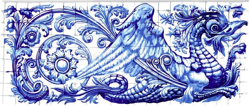 Blå Dragon Azulejo Ceramic Tile Magnet souvenir realistiska Vecto royaltyfri illustrationer