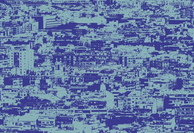 Blå duotone bearbetat fotografi av ett bostads- panorama- flyg- stads- landskap av uppvisning och affärsområden med arkivfoto