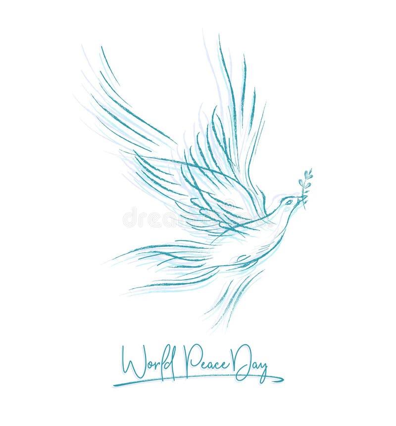 Blå duva med en skriftlig text för kvist och för hand, bakgrund för internationell dag av fred Vektorillustration, design stock illustrationer