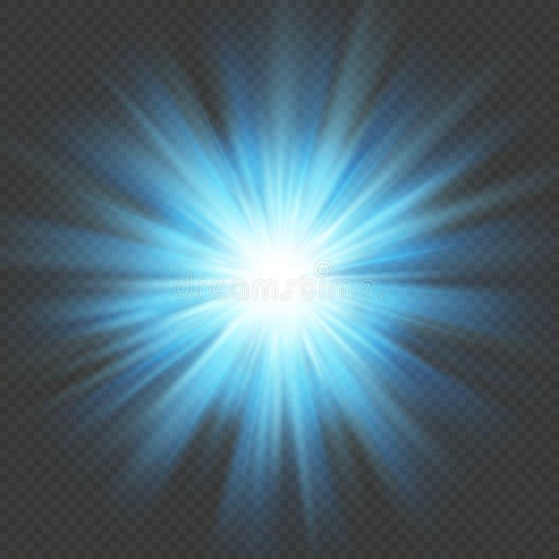 Blå effekt för ljus för explosion för signalljus för glödstjärnabristning Isolerat på genomskinlig bakgrund 10 eps stock illustrationer
