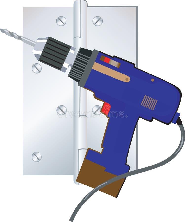 Blå elektrisk driller vektor illustrationer