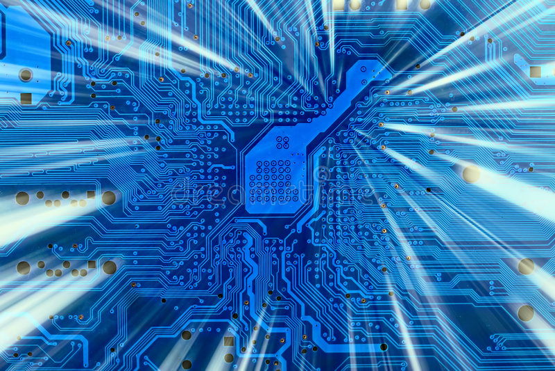 blå elektronisk hög industriell tech för bakgrund arkivbild