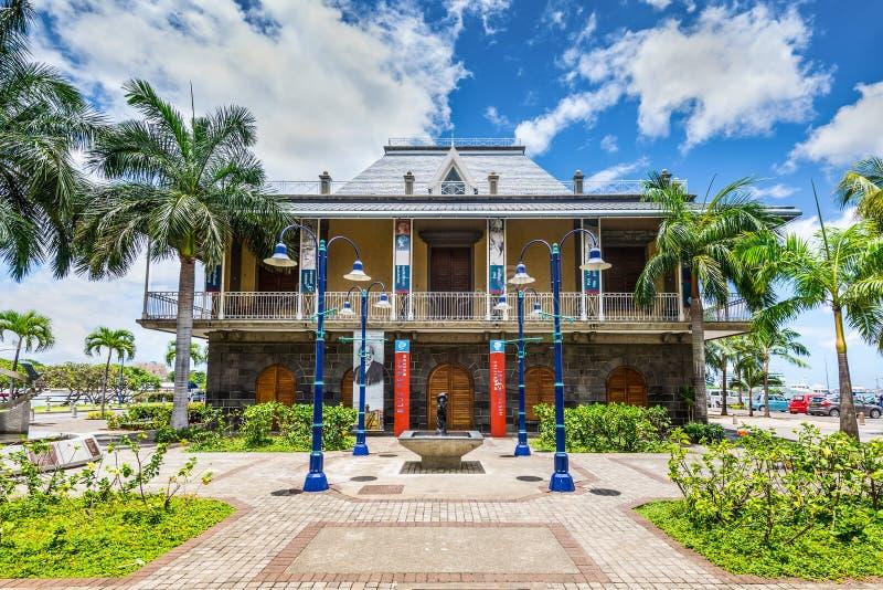 Blå encentmyntmuseumbyggnad i Port Louis, Mauritius arkivfoton
