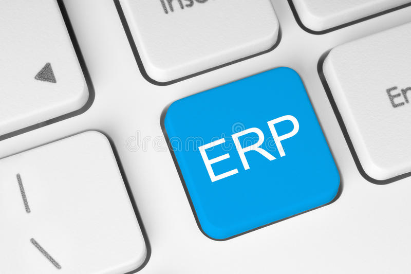 Blå ERP-tangentbordknapp royaltyfri foto